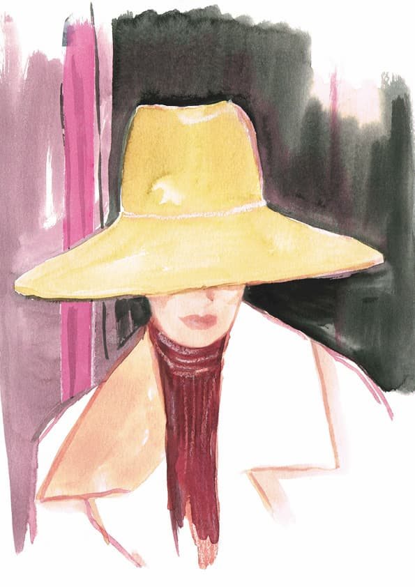 woman is wearing a oversized hat